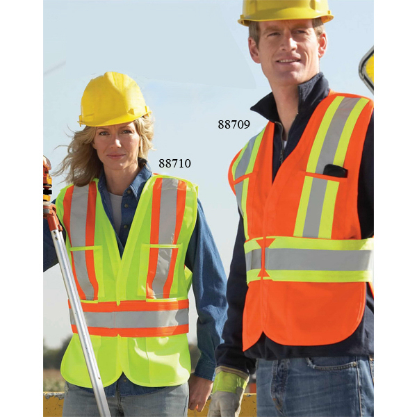 Custom North End (R) 5 Point Vertical Stripe Tear Away Safety Vest