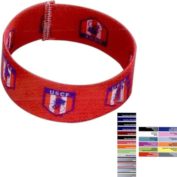 "Printed 1"" Dye Sublimated Stretchy Elastic Bracelet"