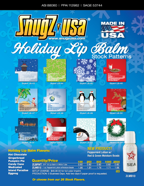 Imprinted SPF 15 Holiday Lip Balm in White Tube