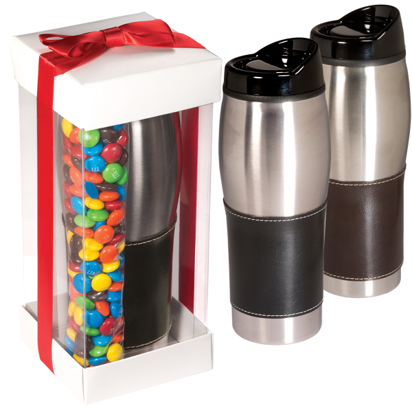 Imprinted Leather-Wrapped Tumbler with Candy Coated Chocolate Set