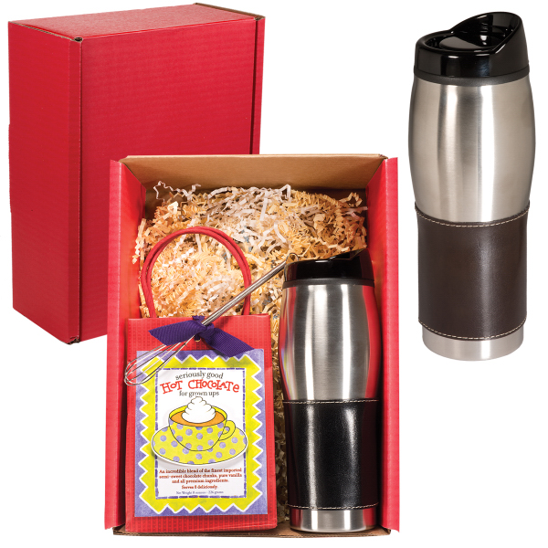 Printed Leather wrapped Tumbler & Hot Cocoa Set