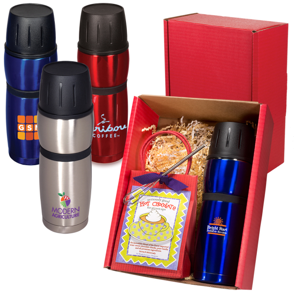 Imprinted Click 'N Sip Thermal Bottle and Cocoa Gift Set