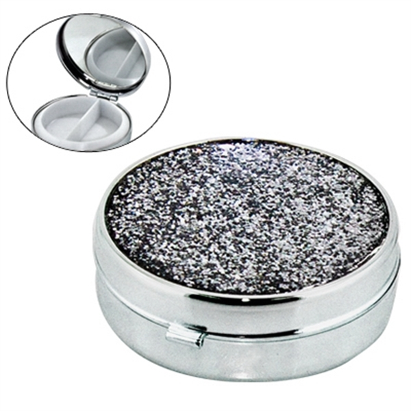 Custom Round shape metal pill box with mirror and glitter cover