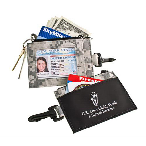 Promotional Digi-Camo ID Clip With Secure Zip Pocket