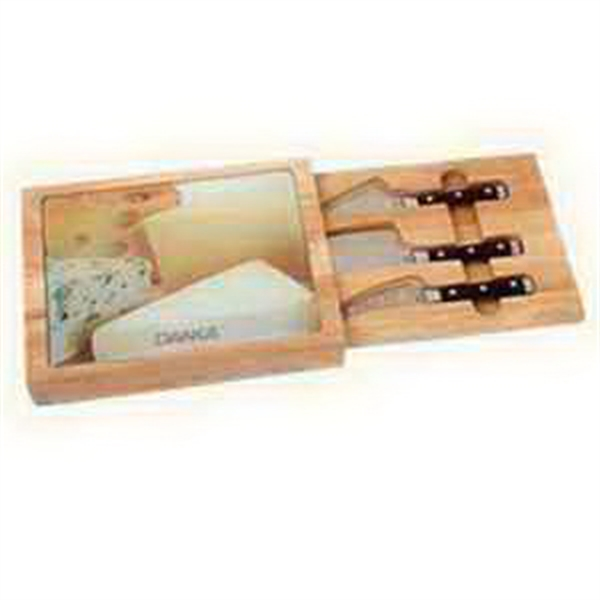 Personalized 5 Piece Rubberwood Cheese Set