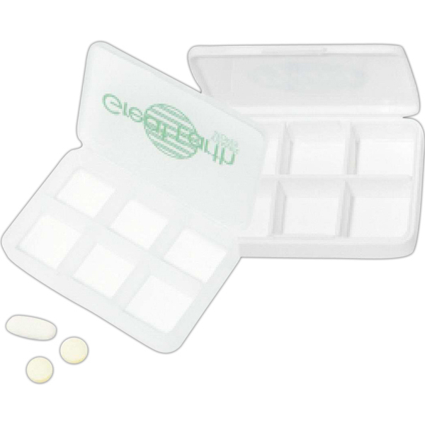 Imprinted 6 Compartment Pill Box