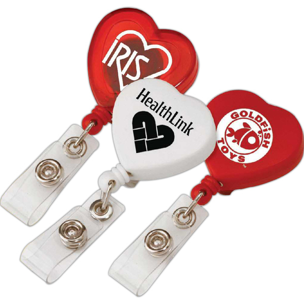 Promotional Heart Retractable Badge Holder