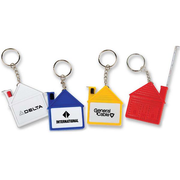 Customized House Tape Measure with Release Button and Key Tag