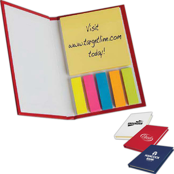 Imprinted Sticky Note Caddy with Flags