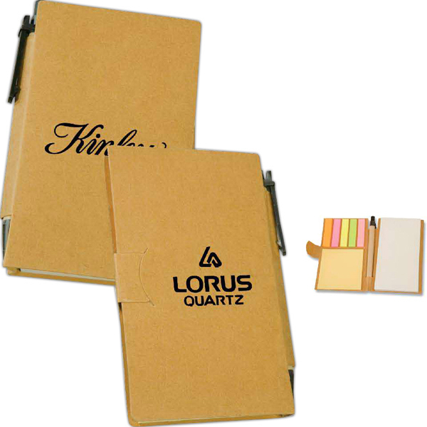 Printed Recycled Sticky Note Book with Pen