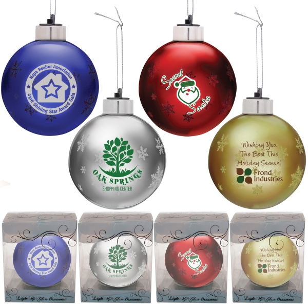 Promotional Light up glass ornament