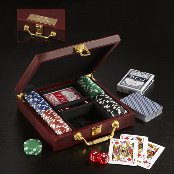 Promotional Wooden Box Poker Set