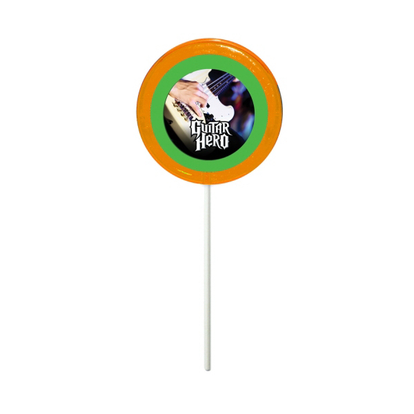 Printed Orange Circle Fun Size Price Buster Lollipop