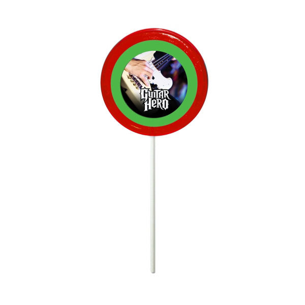 Imprinted Red Circle Fun Size Price Buster Lollipop