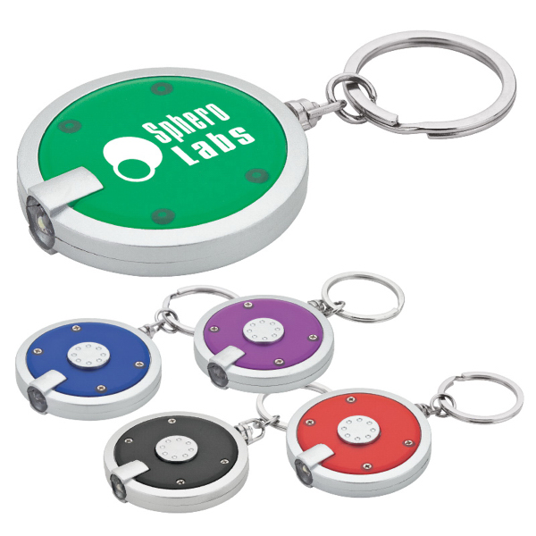 Printed Bright Circle Keychain and Light