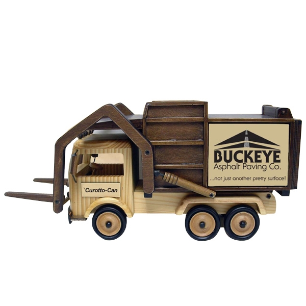 Imprinted Wooden Garbage Truck with Forks - Cinnamon Almonds