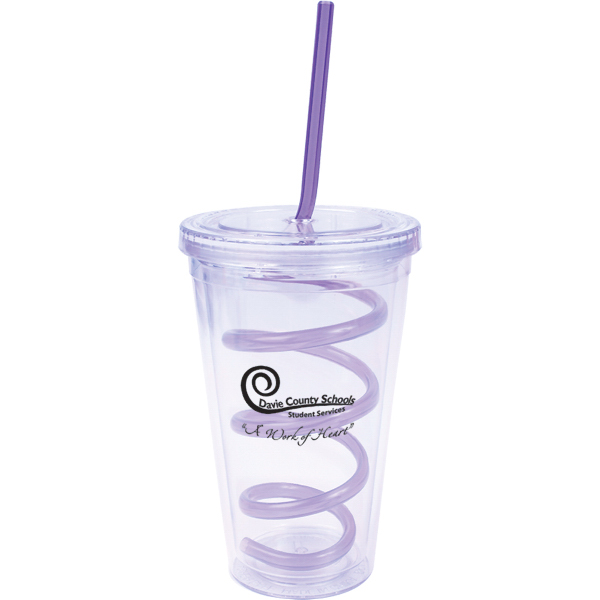 Custom 16 oz. Double Wall Clear Cool Acrylic Tumbler with Twisty St