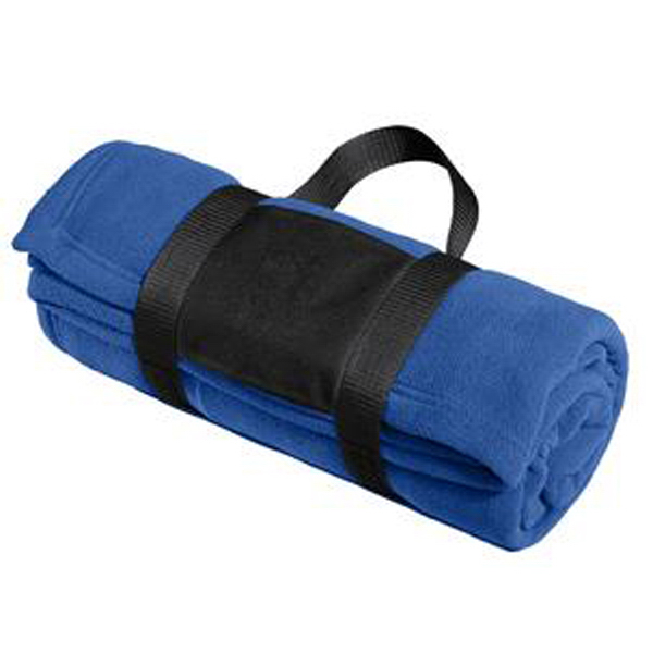 Personalized Port Authority (R) Fleece blanket with carrying strap