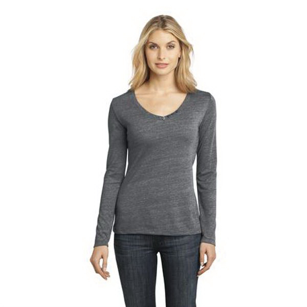 Printed District Made® ladies textured long sleeve v-neck