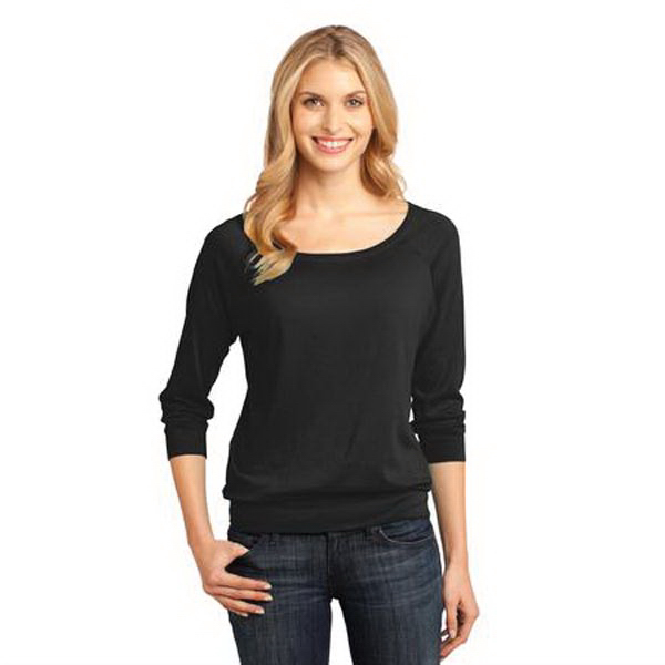 Customized District Made® ladies' modal blend 3/4 sleeve raglan
