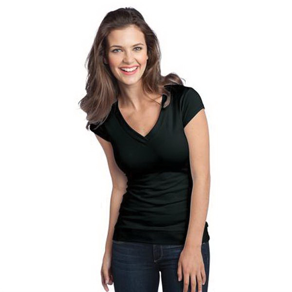 Promotional District (R) Juniors Cotton/Spandex Banded V-Neck