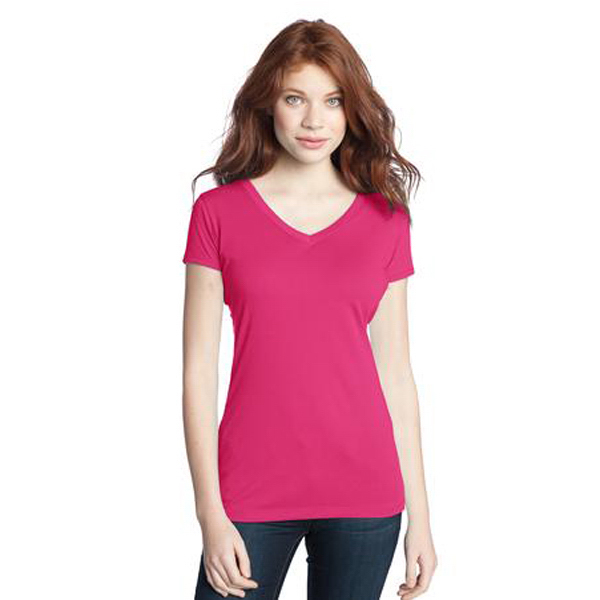 Promotional District (R) juniors modal blend double v-neck tee