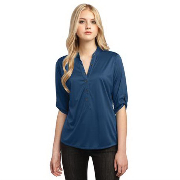 Printed OGIO (R) Crush henley with 3/4 sleeves
