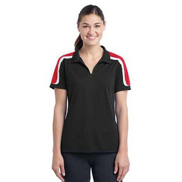 Imprinted Sport-Tek (R) tricolor shoulder micropique ladies' polo