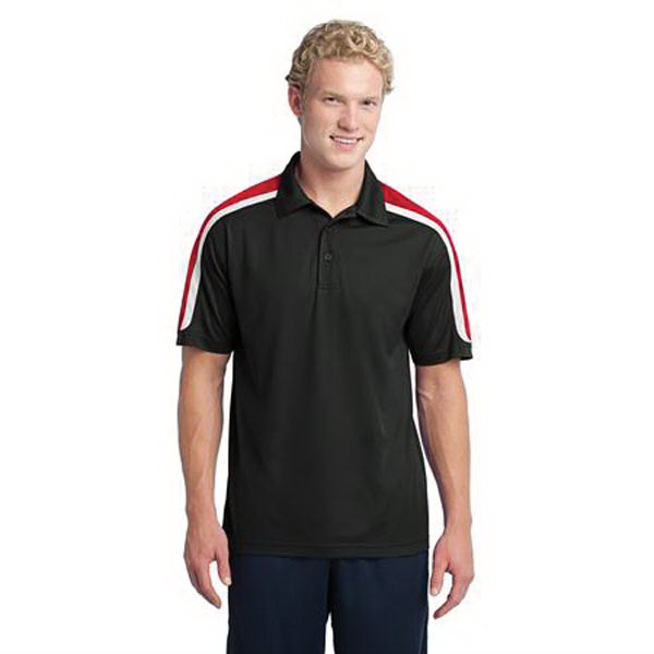 Printed Sport-Tek (R) tricolor shoulder micropique polo