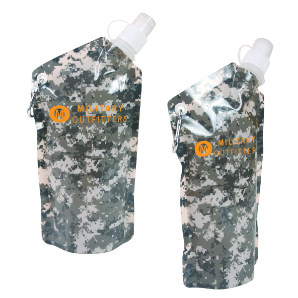 Custom 20 oz. Digital Camouflage Smushy Flexible Water Bottle