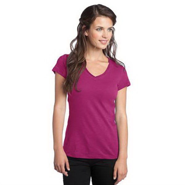 Printed District Threads® junior ladies' slub v-neck tee