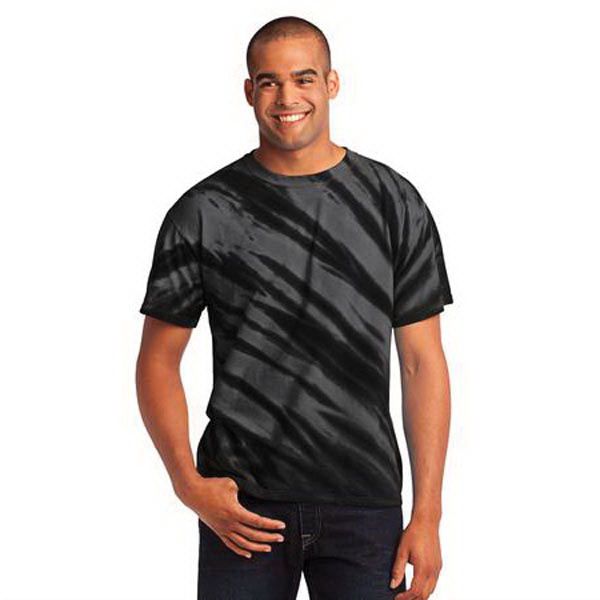 Imprinted Port & Company (R) essential tiger stripe tie-dye tee