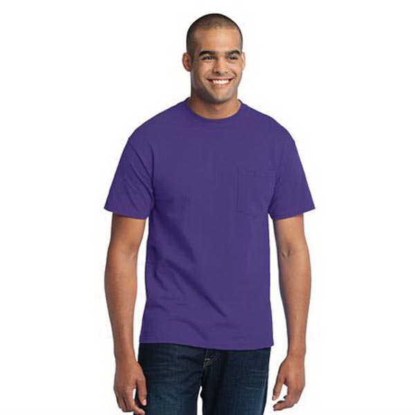 Imprinted Port & Company (R) short sleeve cotton/poly pocket t-shirt
