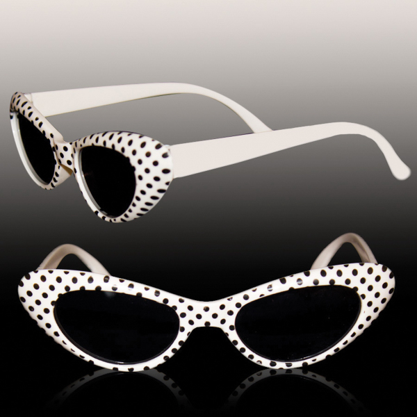 Imprinted White Polka Dot Funky Glasses