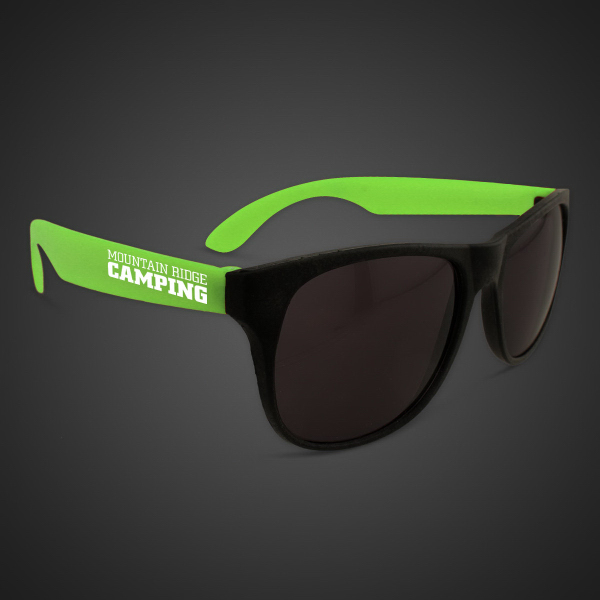 Imprinted Neon Sunglasses With Green Arms