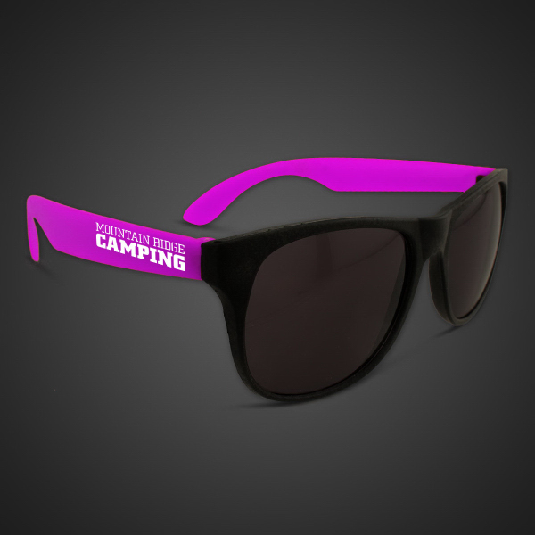 Printed Neon Sunglasses With Purple Arms