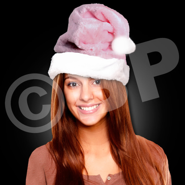 Custom Mrs. Claus Pink Plush Santa Hat