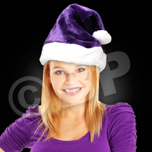 Printed Purple Plush Santa Hat