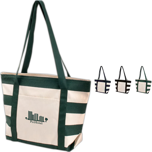 Custom Striped Accent Boat Tote