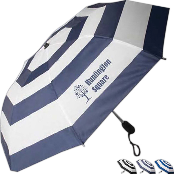 Printed Nautical Stripe Auto Open Folding Umbrella