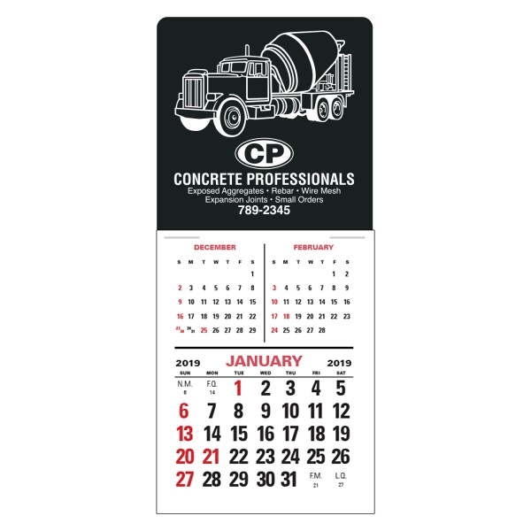 Imprinted Super-Size 3 Month Vertical Press-N-Stick Calendar