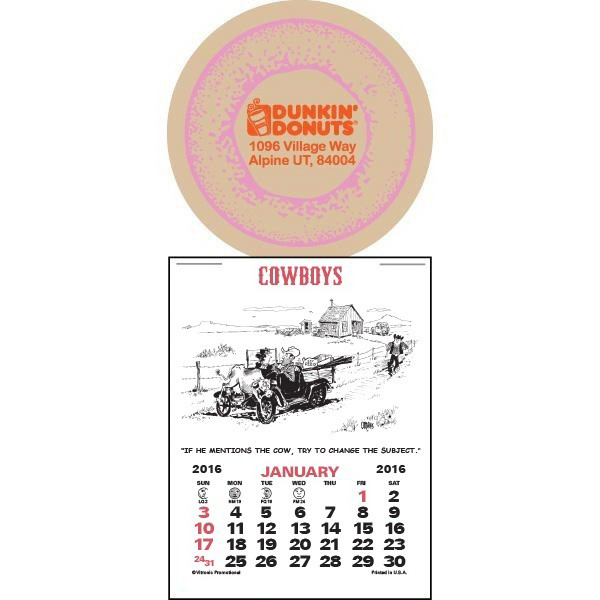 Customized Super-Size Cowboy Press-N-Stick Calendar