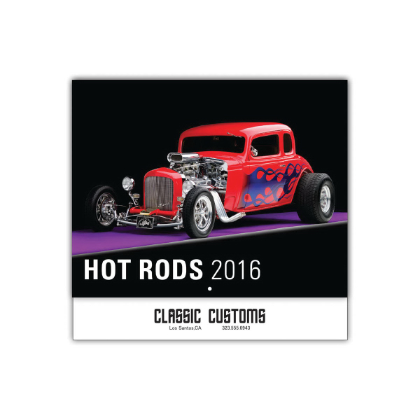 Imprinted Hot Rods 13-Month Wall Calendar