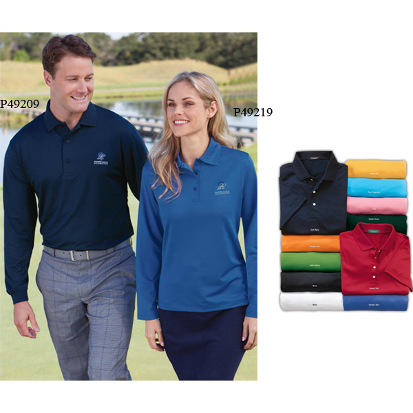 Personalized Men's Cool Swing (R) Long-Sleeve Textured Ottoman Polo