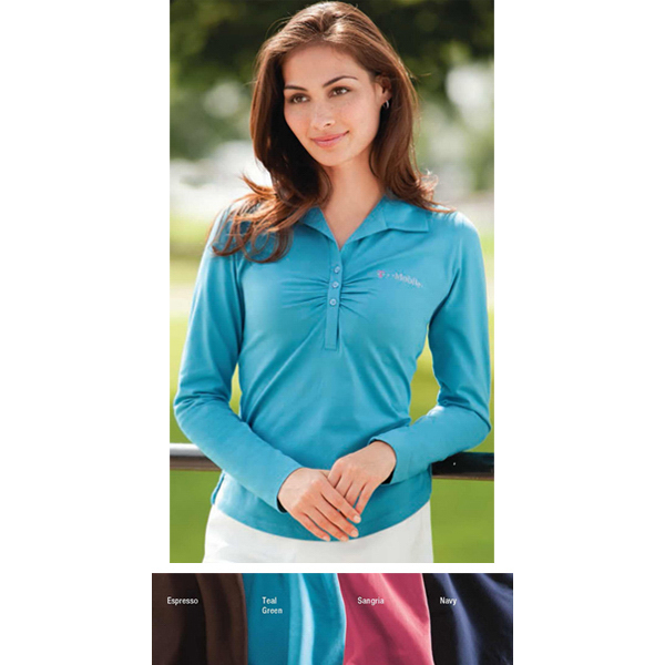 Custom Ladies' Long-Sleeve Pima Stretch Jersey with Ruching