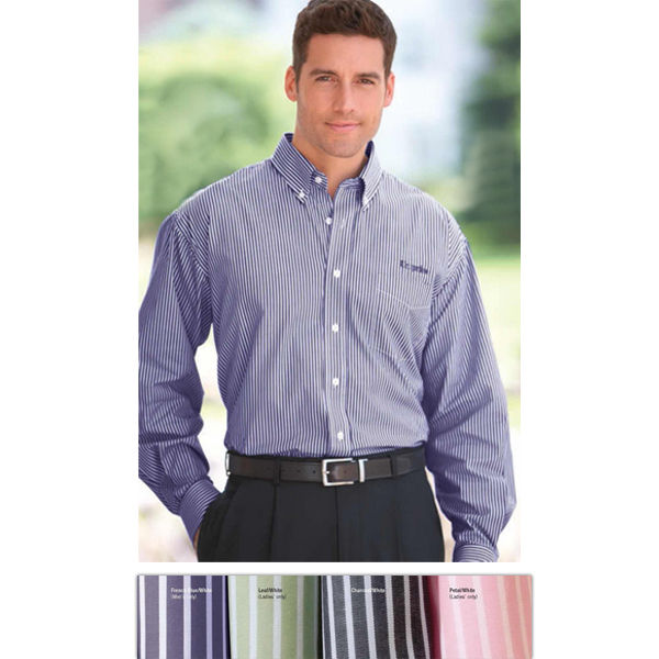 Personalized Men's Reverse Banker's Stripe Pima Poplin Shirt