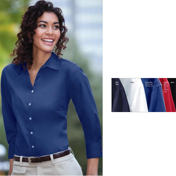 Promotional Ladies' Three-Quarter-Sleeve Woven Twill Shirt