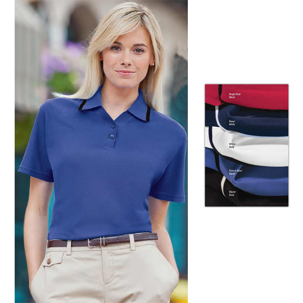 Custom Ladies' Tipped Collar Essential Ringspun Pique Polo