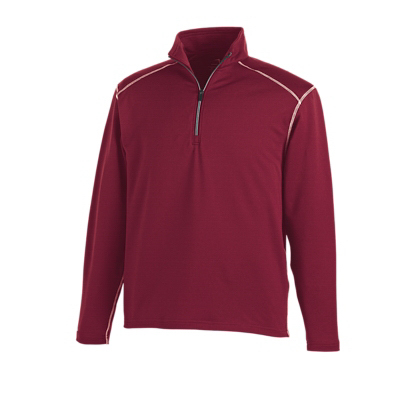 Custom Men's Contrast Stitch Quarter-Zip Texture Pullover