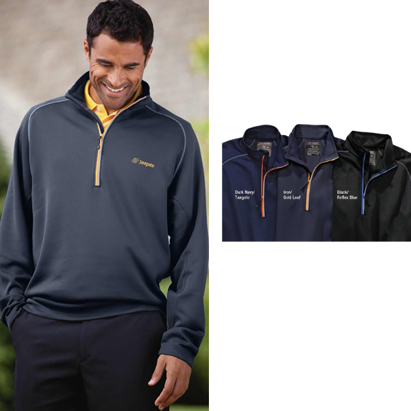 Personalized Men's Contrast Trim Half-Zip Interlock Pullover